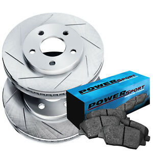 Fit 1974 1975 Toyota Mark Ii Front Sport Slotted Brake Rotors ceramic Brake Pads