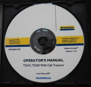 Genuine New Holland T2410 T2420 Tractor With Cab Operators Maintenance Manual