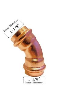 Libra Supply Lead Free 1 Inch 1 45 Degree Press Copper Elbow P X P 5pcs