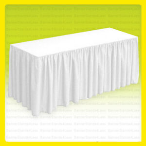 8 Fitted Table Skirt Cover W top Topper Tablecloth Wedding Banquet White
