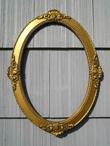 Antique Oval Eastlake Victorian Ornate Gold Curved Glass Picture Frame 13 3 4 20