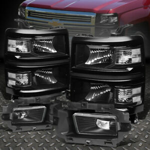 For 2014 2015 Chevy Silverado 1500 Led Black Clear Headlights Clear Fog Lamps