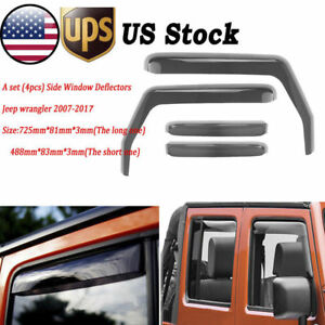 Window Deflector For 2007 2018 Jeep Wrangler Jk 4dr Car In channel Rain Guards