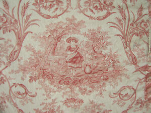 Antique French Daybed Cover Toile De Jouy Fabric Ruffle