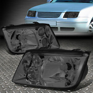 For 1999 2005 Vw Jetta Mk4 Pair Smoked Housing Clear Lens Headlight W fog Lamp