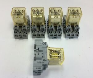 Lot Of 5 Idec Rh3b u Ice Cube Relays Dc24v 24vdc W Sh3b 05c Socket Bases