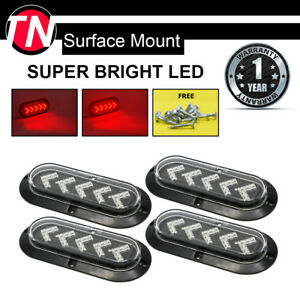 4 Pcs Red 25 Led Oval Clear Marker Brake Stop Sealed Lights Truck Trailer Bus Rv