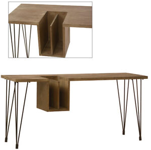 63 l Modern Office Desk With Charcoal Oak Top Metal Legs Frame