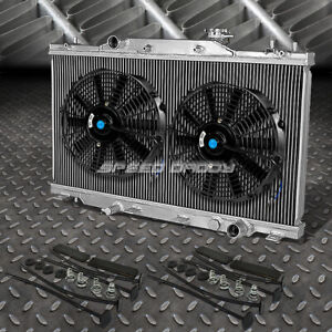 2 Row Aluminum Radiator 2x 10 Fan Black For 02 06 Acura Rsx Type S Integra Dc5