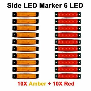 10x Amber 10x Red 6 Led Side Marker Indicator Lights Car Truck Trailer Us Ship