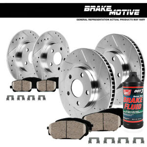 Front Rear Drill Slot Rotors Ceramic Brake Pads For Toyota Corolla Matrix Vibe