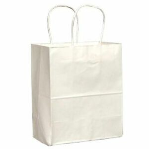 Wholesale White Paper Shopping Bags With Handles Retail 8x4 5x10 25 Inch 250pk