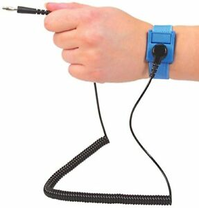 Scs Formerly 3m Anti static Grounding Strap Wrist Band W 6ft Coil Cord Blue