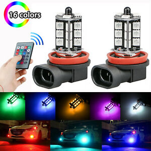 16color Rgb H11 H8 H9 Led Bulbs W Wireless Ir Remote For Fog Light Driving Lamp
