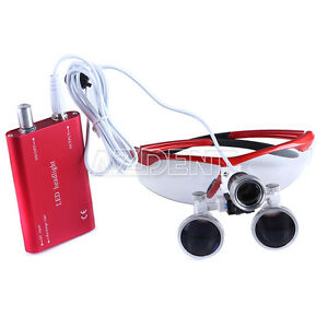 Dental Surgical Binocular Loupes Magnifier 3 5x r Led Head Light Red