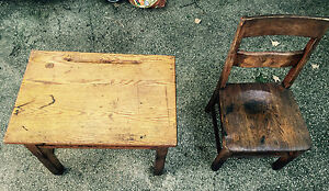 Childrens Antique Vintage School Desk And Chair Wooden Wood Brown