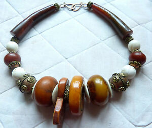 African Necklace With Dinka Tribe Ring Sudan African Amber Shell Necklace