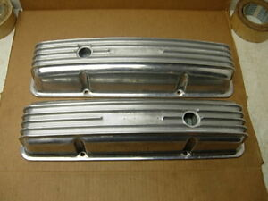 2 Vintage Chevy 283 327 350 Aluminum Valve Covers Edelbrock Offenhauser Weiand