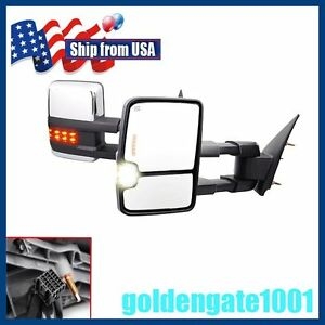 For 2014 17 Silverado Sierra 1500 Power Heated Led Signal Chrome Towing Mirrors