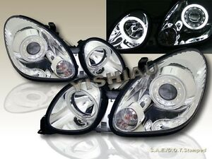 Fit For 1998 2005 Lexus Gs 300 400 430 Chrome Projector Headlights 2 Halo Ccfl