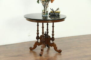 Victorian 1870 Antique Carved Walnut Lamp Or Parlor Table Cultured Marble Top