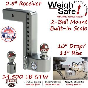 Ws10 2 5 Weigh Safe 2 5 Receiver Adjustable Ball Mount Hitch 10 Drop 11 Rise