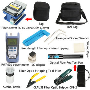 14pcs Fiber Optic Ftth Tool Kit Power Meter Fc 6s Optical Cleaver Fault Locator
