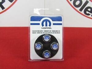 Dodge Ram Chrysler Jeep Black Valve Stem Caps With Blue Mopar Logo New Oem Mopar