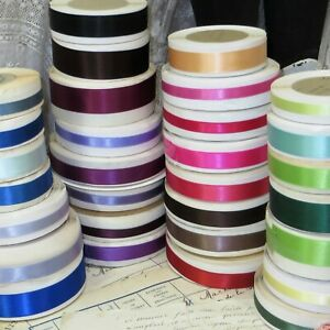 30 Narrow Ribbon Spools Lot Pink Blue Gray Green Satin Trim Antq Doll Dress Hat
