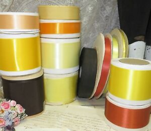 13 Spool Lot Rust Brown Gold Peach Satin Ribbon Vtg Trim Hat Taffeta Flower Doll