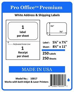 Pro Office Premium 250 Self Adhesive Shipping Labels With Receipt For Laser And