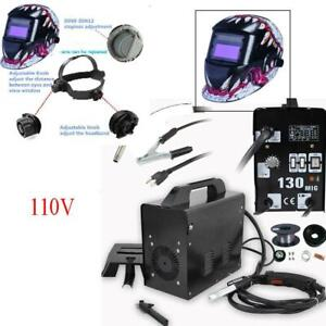 Mig 130 Flux Core Wire Welder Welding Machine Weld W Cooling Face Mask Helmet