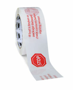 96 Rolls White Printed Packing Stop Sign Tape 3 X 110 Yds 2 Mil Free Shipping