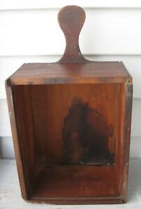 Antique Wooden Candle Box Wall Box W Lollipop Handle No Lid