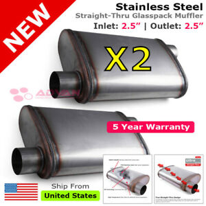 Stainless Steel Straight thru Muffler 2 5 Inches Offset In out 200063 Pair
