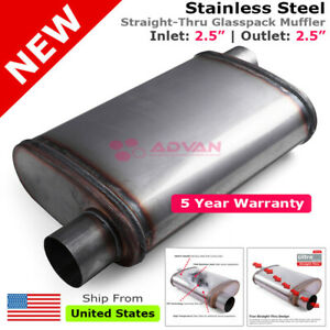 Stainless Steel Straight thru Race Muffler 2 5 Inches Offset In out 200350