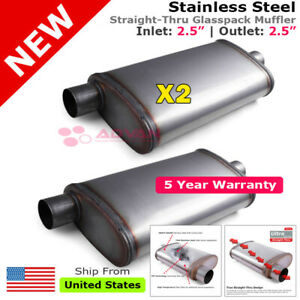 Stainless Steel Straight Thru Muffler 2 5 Inches Offset In Center Out 203384 X2