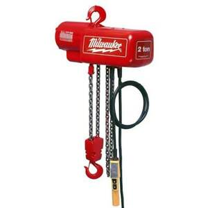 Milwaukee 9565 1 Ton Capacity 10 foot Lift Electric Chain Hoist Bare Tool