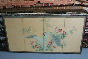 Antique Chinese Watercolor Floral Painting On Silk Folding Screen 4 Panel 35x68
