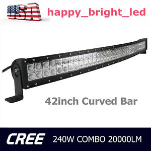 42inch 240w Curved Cree Led Light Bar Flood Spot Combo Work Offroad Driving Lamp