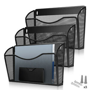 Wall Mount Mail Organizer Paper File Holder Hanging Document Basket Rack 3 Pack