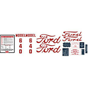 Ford 640 Tractor Complete Decal Set
