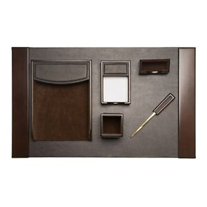 Brown Leather 6 piece Desk Set