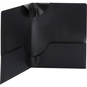 Smead 87941 Poly Lockit Acid free Plastic Two pocket Folders Black For Documents