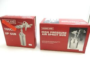 Lot Of 2 New Highland Professional Paint Guns High Pressure And Touch Up Gun