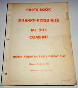 Massey Ferguson Mf 205 Combine Parts Catalog Manual Book Original