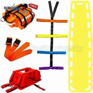 Yellow Emt Backboard Spine Board Stretcher Immobilization Kit Free Trauma Bag
