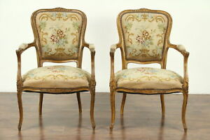 Pair Of Carved French 1925 Antique Chairs Needlepoint Upholstery