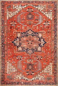 Large Red Background Antique Serapi Persian Rug