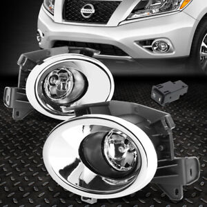 For 13 16 Nissan Pathfinder Pair Clear Lens Fog Light Lamp Chrome Covers Switch